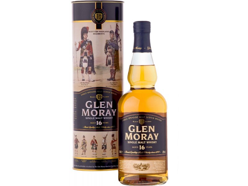 Виски Glen Moray 16Y.O. Single Malt 0.7 л в тубусе
